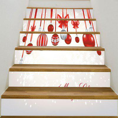 Buy Snowflakes Christmas Balls Pattern Stair Stickers, RED WITH WHITE, Home & Garden, Home Decors, Wall Art, Wall Stickers for $17.76 in GearBest store