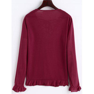 Lace-up Frilled Long Sleeve TopTees<br>Lace-up Frilled Long Sleeve Top<br><br>Collar: V-Neck<br>Elasticity: Elastic<br>Embellishment: Lace up<br>Material: Polyester, Spandex<br>Package Contents: 1 x Top<br>Pattern Type: Solid Color<br>Seasons: Autumn<br>Shirt Length: Regular<br>Sleeve Length: Full<br>Style: Casual<br>Weight: 0.2100kg