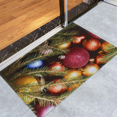 Christmas Colorful Balls Print Nonslip Fleece Bath Mat