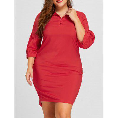 Buy RED 3XL Plus Size Lantern Sleeve Shirt Dress for $24.28 in GearBest store