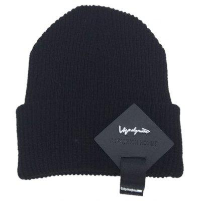 Buy Outdoor Square Letter Label Decorated Flanging Knitted Beanie, BLACK, Apparel, Accessories, Hats, Men's Hats for $5.71 in GearBest store