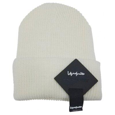 Buy Outdoor Square Letter Label Decorated Flanging Knitted Beanie, WHITE, Apparel, Accessories, Hats, Men's Hats for $5.71 in GearBest store
