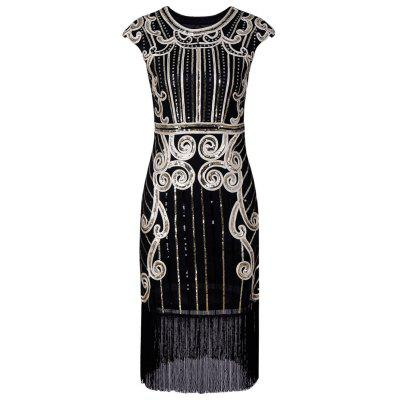 Fringe Sequins Cap Sleeve Vintage Party Dress