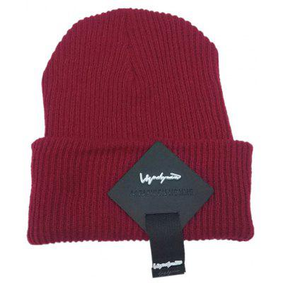 Buy Outdoor Square Letter Label Decorated Flanging Knitted Beanie, WINE RED, Apparel, Accessories, Hats, Men's Hats for $5.71 in GearBest store