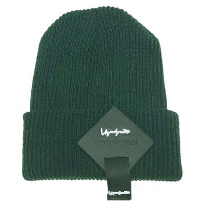 Buy Outdoor Square Letter Label Decorated Flanging Knitted Beanie, GREEN, Apparel, Accessories, Hats, Men's Hats for $5.71 in GearBest store