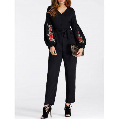 V Neck Embroidered Puff Sleeve JumpsuitJumpsuits &amp; Rompers<br>V Neck Embroidered Puff Sleeve Jumpsuit<br><br>Embellishment: Embroidery<br>Fit Type: Loose<br>Material: Polyester<br>Package Contents: 1 x Jumpsuit   1 x Belt<br>Pattern Type: Floral<br>Season: Spring, Fall<br>Style: Fashion<br>Weight: 0.3000kg<br>With Belt: Yes