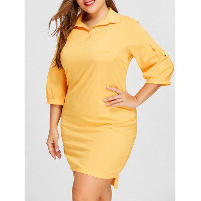 Buy YELLOW 3XL Plus Size Lantern Sleeve Shirt Dress for $24.28 in GearBest store