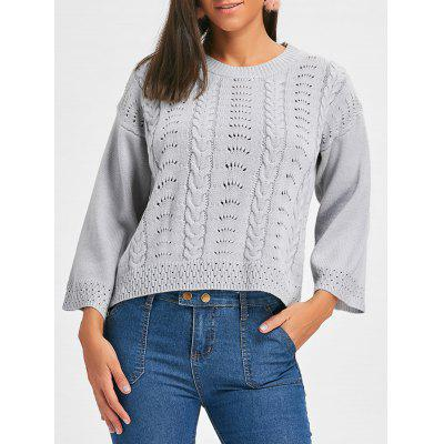 Crew Neck Hollow Out Cable Knit Sweater
