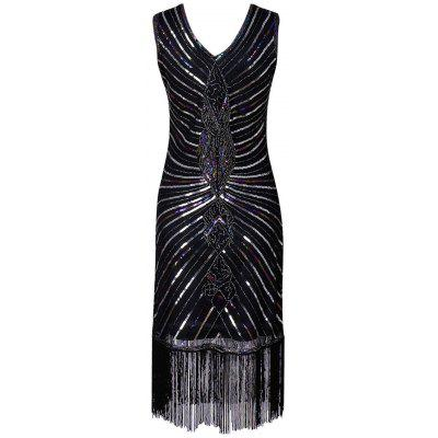 V-neck Sequins Fringe Party Vintage DressWomens Dresses<br>V-neck Sequins Fringe Party Vintage Dress<br><br>Dresses Length: Knee-Length<br>Embellishment: Sequins<br>Material: Polyester, Spandex<br>Neckline: V-Neck<br>Package Contents: 1 x Dress<br>Pattern Type: Others<br>Season: Fall, Spring<br>Silhouette: Sheath<br>Sleeve Length: Sleeveless<br>Style: Vintage<br>Weight: 0.3250kg<br>With Belt: No