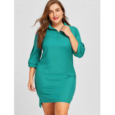 Plus Size Lantern Sleeve Shirt DressPlus Size Dresses<br>Plus Size Lantern Sleeve Shirt Dress<br><br>Dresses Length: Mid-Calf<br>Embellishment: Button<br>Material: Polyester<br>Neckline: Shirt Collar<br>Package Contents: 1 x Dress<br>Pattern Type: Solid Color<br>Season: Fall, Winter<br>Silhouette: Straight<br>Sleeve Length: 3/4 Length Sleeves<br>Sleeve Type: Lantern Sleeve<br>Style: Casual<br>Weight: 0.2600kg<br>With Belt: No
