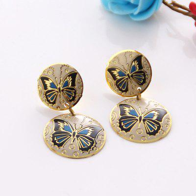 Vintage Alloy Round Engraved Butterfly EarringsEarrings<br>Vintage Alloy Round Engraved Butterfly Earrings<br><br>Earring Type: Drop Earrings<br>Gender: For Women<br>Length: 4CM<br>Metal Type: Alloy<br>Package Contents: 1 x Earring (Pair)<br>Shape/Pattern: Insect<br>Style: Trendy<br>Weight: 0.0300kg