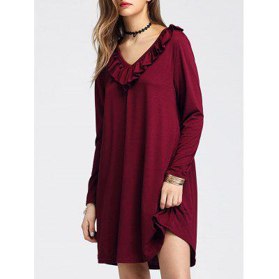 Long Sleeve V Neck Ruffle Mini Shift DressWomens Dresses<br>Long Sleeve V Neck Ruffle Mini Shift Dress<br><br>Dresses Length: Mini<br>Material: Polyester, Spandex<br>Neckline: V-Neck<br>Occasion: Casual<br>Package Contents: 1 x Dress<br>Pattern Type: Solid Color<br>Season: Fall, Spring<br>Silhouette: Shift<br>Sleeve Length: Long Sleeves<br>Style: Casual<br>Weight: 0.3500kg<br>With Belt: No
