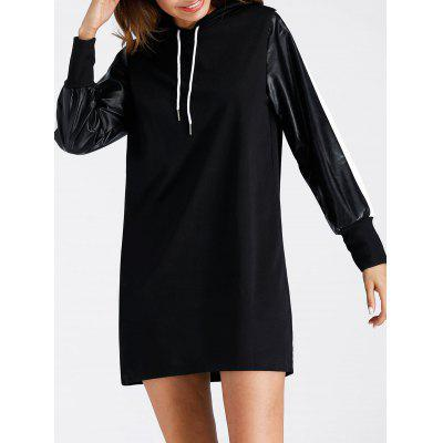 Drawstring Faux Leather Insert Mini Hoodie DressWomens Dresses<br>Drawstring Faux Leather Insert Mini Hoodie Dress<br><br>Dresses Length: Mini<br>Material: Cotton, Polyester<br>Neckline: Hooded<br>Package Contents: 1 x Dress<br>Pattern Type: Patchwork<br>Season: Spring, Fall<br>Silhouette: Shift<br>Sleeve Length: Long Sleeves<br>Style: Casual<br>Weight: 0.4000kg<br>With Belt: No