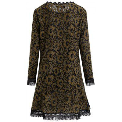 Plus Size Fringed Floral Lace Dress with SleevesPlus Size Dresses<br>Plus Size Fringed Floral Lace Dress with Sleeves<br><br>Dresses Length: Mini<br>Embellishment: Lace<br>Material: Lace, Polyester<br>Neckline: Scoop Neck<br>Package Contents: 1 x Dress<br>Pattern Type: Floral<br>Season: Fall, Winter<br>Silhouette: A-Line<br>Sleeve Length: 3/4 Length Sleeves<br>Style: Casual<br>Weight: 0.4000kg<br>With Belt: No