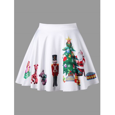 Buy WHITE 3XL Plus Size Christmas Print Flared Mini Skirt for $17.61 in GearBest store