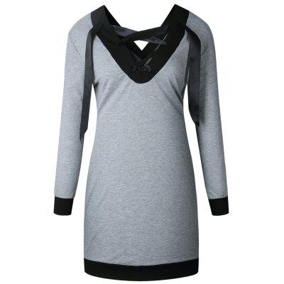 Buy GRAY XL Color Block Lattice Long Sleeve Dress for $19.09 in GearBest store