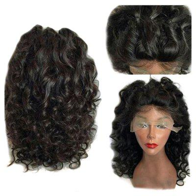 Buy NATURAL BLACK Long Free Part Shaggy Loose Curly Synthetic Lace Front Wig for $60.95 in GearBest store