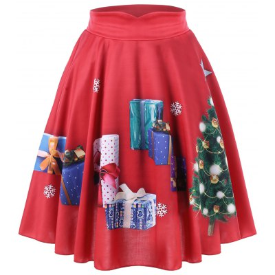 Buy RED 2XL Christmas Plus Size Tree and Gift Print Midi Skirt for $20.74 in GearBest store
