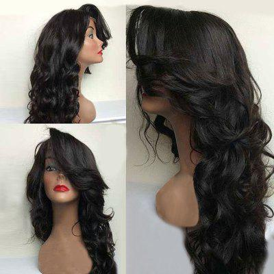 Buy NATURAL BLACK Long Deep Side Parting Shaggy Wavy Synthetic Lace Front Wig for $54.39 in GearBest store