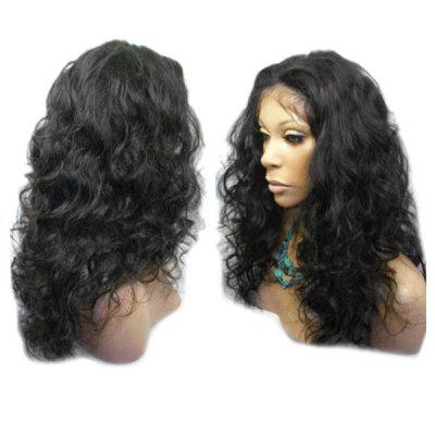 Buy NATURAL BLACK Long Center Parting Shaggy Wavy Lace Front Synthetic Wig for $59.31 in GearBest store