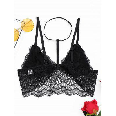 Sheer Scalloped Choker Lace BraLingerie &amp; Shapewear<br>Sheer Scalloped Choker Lace Bra<br><br>Bra Style: Plunge, Seamless<br>Closure Style: None<br>Cup Shape: Half Cup(1/2 Cup)<br>Embellishment: Lace<br>Materials: Polyester<br>Package Contents: 1 x Bra<br>Pattern Type: Solid<br>Strap Type: Halter<br>Style: Sexy<br>Support Type: Wire Free<br>Weight: 0.1000kg