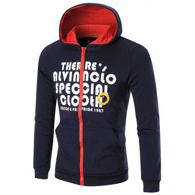Contrast Trim Fleece Graphic Hoodie