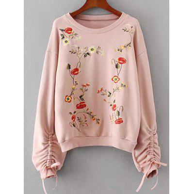 Buy Floral Embroidered Cinched Sleeve Sweatshirt, PINK, L, Apparel, Women's Clothing, Sweatshirts & Hoodies for $41.30 in GearBest store