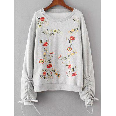 Buy Floral Embroidered Cinched Sleeve Sweatshirt, LIGHT GRAY, L, Apparel, Women's Clothing, Sweatshirts & Hoodies for $41.30 in GearBest store