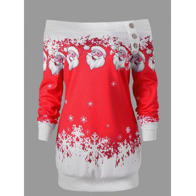 Santa Claus Snowflake Skew Neck Pullover Christmas SweatshirtSweatshirts &amp; Hoodies<br>Santa Claus Snowflake Skew Neck Pullover Christmas Sweatshirt<br><br>Embellishment: Button<br>Material: Polyester, Spandex<br>Package Contents: 1 x Sweatshirt<br>Pattern Style: Character<br>Season: Winter, Spring, Fall<br>Shirt Length: Long<br>Sleeve Length: Full<br>Style: Casual<br>Weight: 0.2300kg