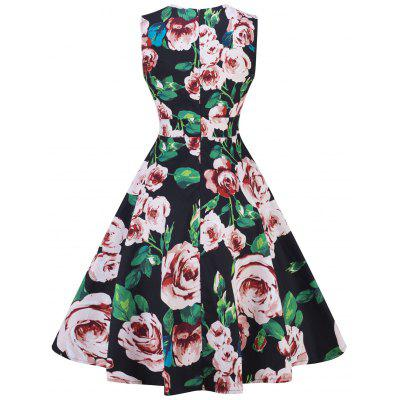 Retro Floral Print Fit and Flare Swing DressWomens Dresses<br>Retro Floral Print Fit and Flare Swing Dress<br><br>Dress Type: Fit and Flare Dress<br>Dresses Length: Knee-Length<br>Material: Cotton, Polyester<br>Neckline: Sweetheart Neck<br>Package Contents: 1 x Dress<br>Pattern Type: Floral<br>Season: Spring, Fall<br>Silhouette: A-Line<br>Sleeve Length: Sleeveless<br>Style: Vintage<br>Weight: 0.3500kg<br>With Belt: No