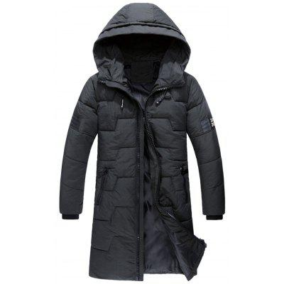 Buy Zip Up Flag Patch Hooded Quilted Coat, DEEP GRAY, L, Apparel, Men's Clothing, Men's Jackets & Coats for $90.20 in GearBest store