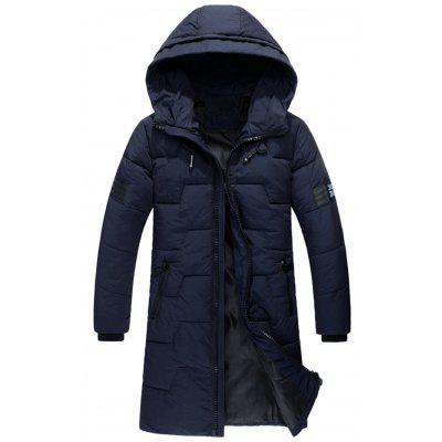 Buy Zip Up Flag Patch Hooded Quilted Coat, PURPLISH BLUE, L, Apparel, Men's Clothing, Men's Jackets & Coats for $90.20 in GearBest store