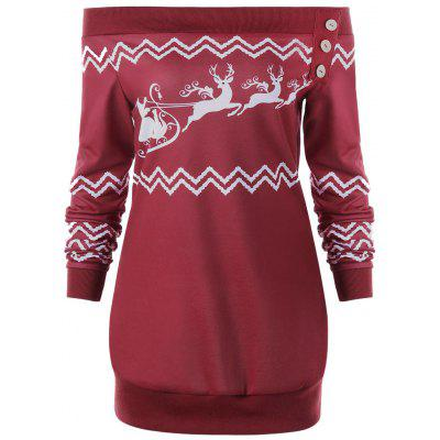 Plus Size Zigzag Deer Skew Neck Christmas Pullover SweatshirtPlus Size Tops<br>Plus Size Zigzag Deer Skew Neck Christmas Pullover Sweatshirt<br><br>Embellishment: Button<br>Material: Polyester, Spandex<br>Package Contents: 1 x Sweatshirt<br>Pattern Style: Character,Zig Zag(Chevron)<br>Season: Winter, Spring, Fall<br>Shirt Length: Long<br>Sleeve Length: Full<br>Style: Casual<br>Weight: 0.3500kg