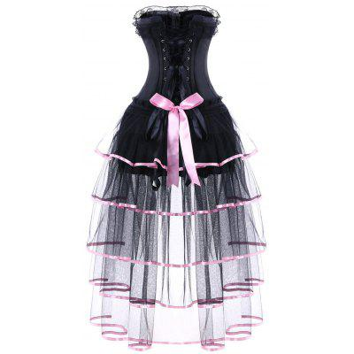 Strapless Sheer Mesh Insert Layered Corset DressLingerie &amp; Shapewear<br>Strapless Sheer Mesh Insert Layered Corset Dress<br><br>Embellishment: Bowknot,Criss-Cross<br>Material: Polyester<br>Package Contents: 1 x Corset Dress<br>Pattern Type: Patchwork<br>Weight: 0.7500kg
