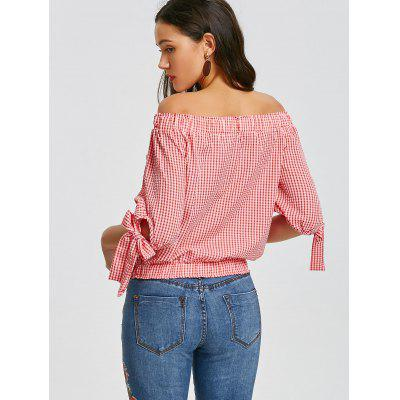 Off Shoulder Checked Bowknot BlouseBlouses<br>Off Shoulder Checked Bowknot Blouse<br><br>Collar: Off The Shoulder<br>Material: Cotton, Polyester<br>Occasion: Casual<br>Package Contents: 1 x Blouse<br>Pattern Type: Plaid<br>Seasons: Autumn,Spring,Summer<br>Shirt Length: Regular<br>Sleeve Length: Three Quarter<br>Style: Fashion<br>Weight: 0.2400kg