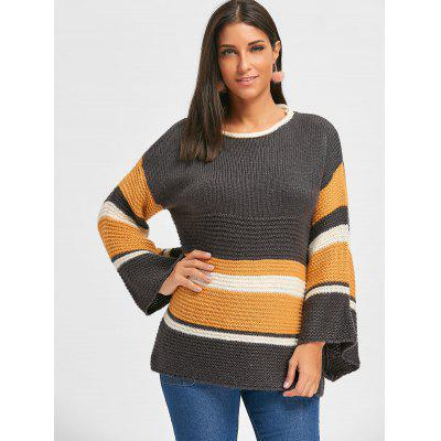 Bell Sleeve Color Block Tunic Chunky SweaterSweaters &amp; Cardigans<br>Bell Sleeve Color Block Tunic Chunky Sweater<br><br>Collar: Round Neck<br>Material: Acrylic<br>Package Contents: 1 x Sweater<br>Pattern Type: Striped<br>Season: Fall, Spring<br>Sleeve Length: Full<br>Style: Fashion<br>Type: Pullovers<br>Weight: 0.5500kg