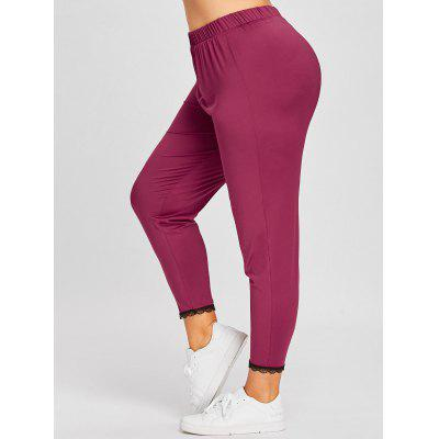 Buy WINE RED 2XL Plus Size Lace Trim Leggings for $13.29 in GearBest store
