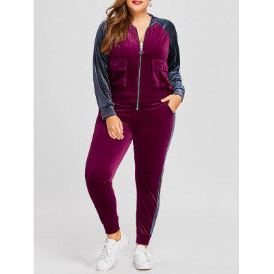 Buy WINE RED 3XL Plus Size Velvet Jacket Jogger Pants Sports Suit for $43.71 in GearBest store