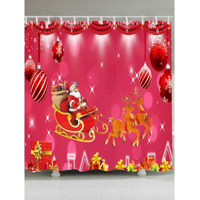 Christmas Carriage and Gift Printed Waterproof Shower Curtain