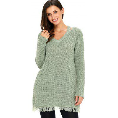 Cut Out V Neck Frayed Hem Tunic SweaterSweaters &amp; Cardigans<br>Cut Out V Neck Frayed Hem Tunic Sweater<br><br>Collar: V-Neck<br>Embellishment: Cut Out<br>Material: Nylon, Polyester<br>Package Contents: 1 x Sweater<br>Pattern Type: Solid<br>Season: Fall, Spring<br>Sleeve Length: Full<br>Style: Fashion<br>Type: Pullovers<br>Weight: 0.7000kg