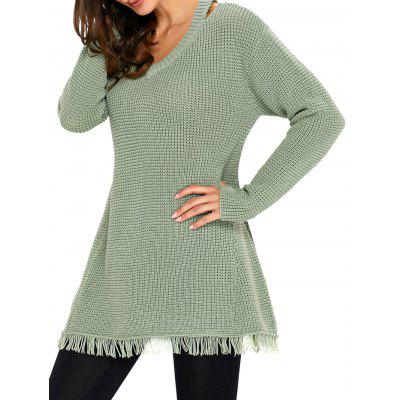 Cut Out V Neck Frayed Hem Tunic Sweater
