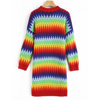 Colorful Rainbow Sweater DressSweater Dresses<br>Colorful Rainbow Sweater Dress<br><br>Dresses Length: Mini<br>Material: Acrylic<br>Neckline: Crew Neck<br>Package Contents: 1 x Sweater Dress<br>Pattern Type: Others<br>Season: Fall, Winter<br>Sleeve Length: Long Sleeves<br>Weight: 0.7700kg<br>With Belt: No