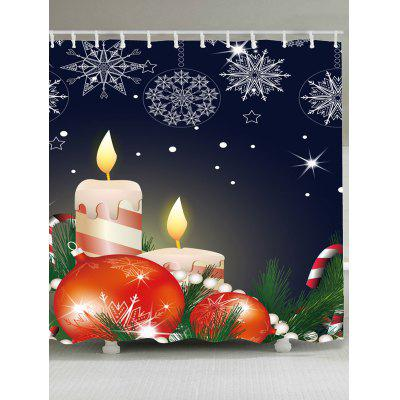 Christmas Candle Printed Waterproof Shower Curtain