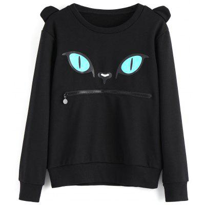 Crew Neck Zippered Cat Print Sweatshirt popular new polo polo modified gti taillight 11 13 new polo taillight modification