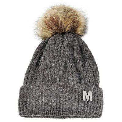 Outdoor Letter M Embellished Velvet Knitted Beanie