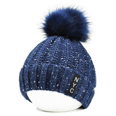 Outdoor Fuzzy Ball Embellished Crochet Knitted Beanie