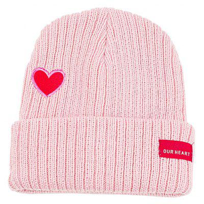 Sweet Heart Embroidery Flanging Knitted Beanie