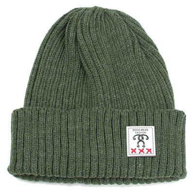 Outdoor Label Embellished Flanging Knit Beanie