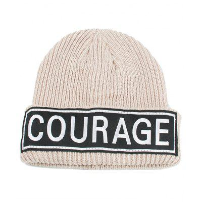 Buy BEIGE COURAGE Pattern Decorated Crochet Knitted Beanie for $6.80 in GearBest store