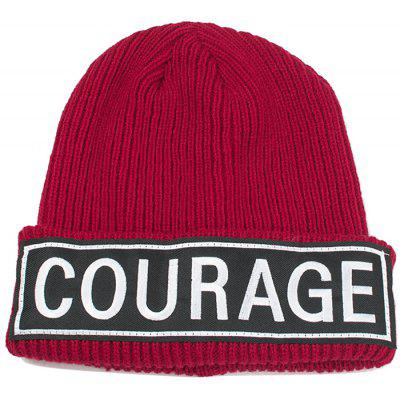 Buy WINE RED COURAGE Pattern Decorated Crochet Knitted Beanie for $6.80 in GearBest store